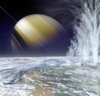 토성의 위성 엔셀라두스에서 간헐천이 솟아오르는 모습 상상도. - 마이클 캐럴(Michael Carroll) 제공